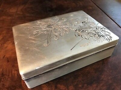Antique Pure Silver Kintaro Hattori Japan Trinket Jewelry Cigarette Box Seiko