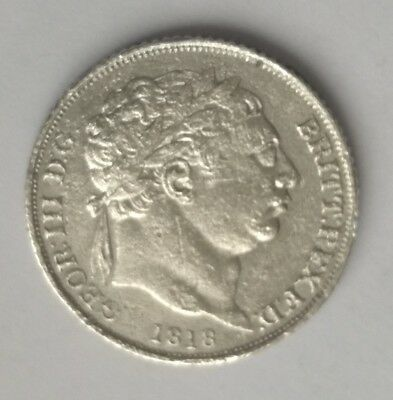1818 Sterling Silver George III Sixpence