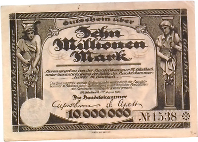 1923 Germany HANDELSKAMMER 10.000.000 / 10 Million Mark Banknote