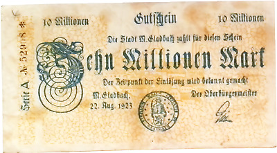 1923 Germany GLABACH 10.000.000 / 10 Million Mark Banknote