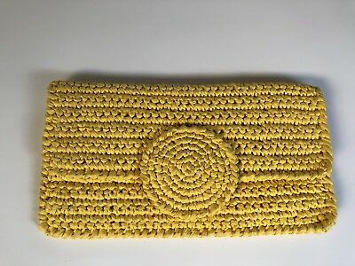 """Vintage Bloomingdale""""s Yellow Straw Woven Bag Envelope Clutch Purse"""