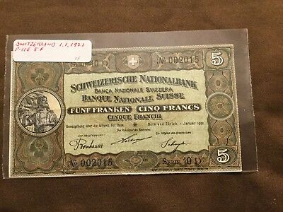 SWITZERLAND 5 FRANCS BANKNOTE 1921 VF+ P-11e
