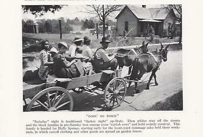 """1937 Print Black Farm Family """"Goin to Town"""" Holly Springs, Miss. Mules Wagon"""