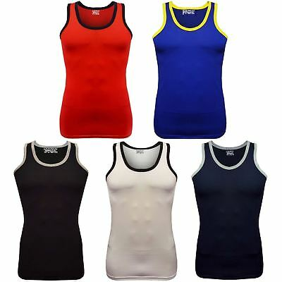 MENS VESTS OR 100% Cotton TANK TOP SUMMER TRAINING GYM TOPS PACK PLAIN S-2XL