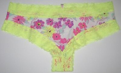 9ecfa8e381 Nwt Victoria s Secret Pink Medium Neon Yellow Floral Lace Rare Cheekster  Panties