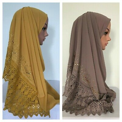 Beautiful Bubble Chiffon with Embroidery Gold Rhinestone Lace Scarf 180 x 70 cm