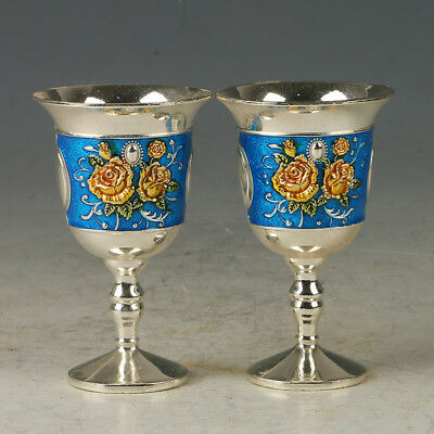 A Pair Of Chinese Exquisite Cloisonne Hand-made Flowers  Wine Cup R0080+a