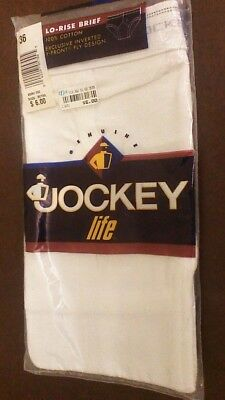 Jockey Life - Nos Vtg 1996 Mens Sz 36 White Lo-Rise Cotton Briefs Sealed Package