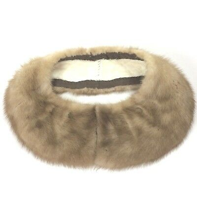 """VTG 50s Mink Fur Collar Blonde Beige with Hook and Eye Clasp 24"""" long"""