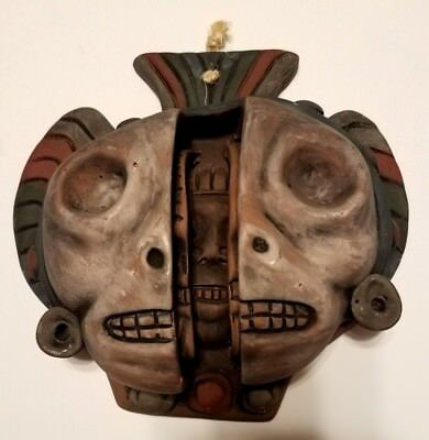 """Three Ages of Man Clay 8.5"""" x 9"""" Face Mask 3D Vintage Mayan Pottery Art"""