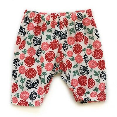 Girls 0-3m Tea Collection White Corduroy Pants w/ Butterflies & Red Pink Flowers