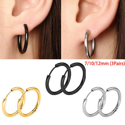 3Pairs Small Thin Mens Womens Stainless Steel Tube Hoop Ear Ring Stud Earrings