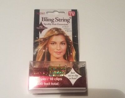 Bling String Sparkly Hair Extensions 2 Spools 10 clips 500 feet total
