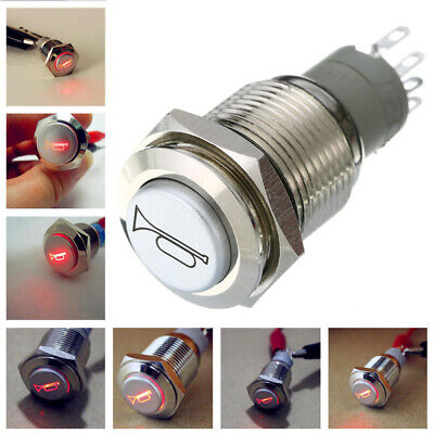 12V Car RED LED Waterproof Metal Push Button ON OFF Horn Switch Engine Starter