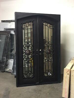 "Wrought Iron Entry Door 62""W x 96""H Right InSwing with Operable Mirror Glass"
