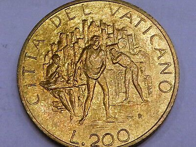 Vatican 1989 Pope John Paul II 200 Lire City landscape and people working