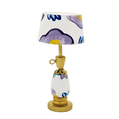 1:12 Dollhouse Miniature Table Lamp Wooden Furniture White & Purple Lighting Toy