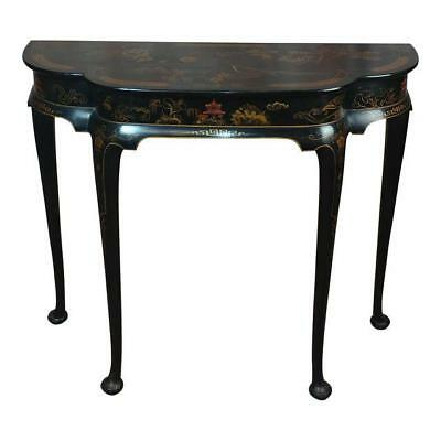 A Queen Anne Style Chinoiserie Demi-lune Side Table Console