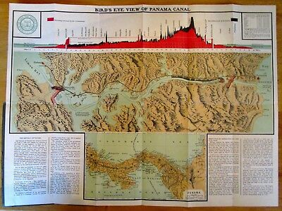 1910 Panama Canal Zone - Birds Eye View Map - Nice Colors - Info