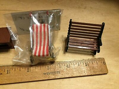 1:24 scale,NOS Stroller and park bench,plus extra cabinet