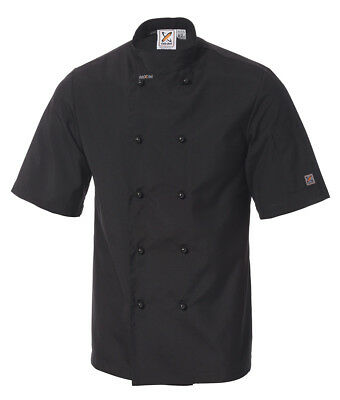 5 x Traditional Short Sleeve Chef Jackets in Black by Club Chef