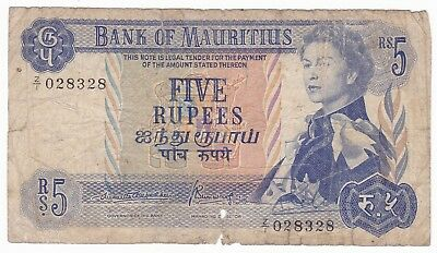MAURITIUS 5 rupees ND 1967 VG- Replacement Z/1 P-30b