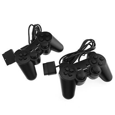 2 Piece Wired Cable Dual Shock Controllers For PS2 Joypad Gamepad Consoles SD