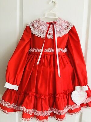 Vtg Martha's Miniatures Red Ruffle Lace Dress
