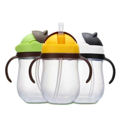 Child Feeding Drinking Water Straw Handle Bottle Sippy Training Baby Cup New