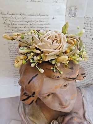 RARE LOVELY  ANTIQUE FRENCH WEDDING TIARA COURONNE WAX  BUD & FLOWERS 19th