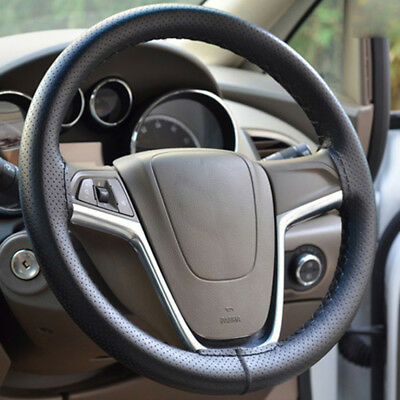 Car Auto Steering Wheel Cover DIY Leather Wrap & Needles And Thread Black