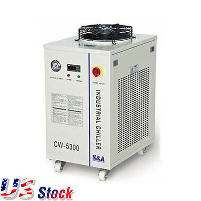 US AC110V CW-5300DI Industrial Water Chiller for 200W CO2 laser/18KW CNC Spindle