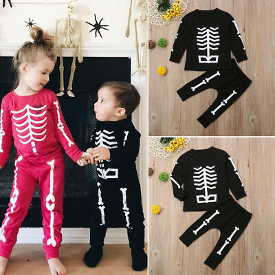 AU Toddler Kids Boy Girl Skeleton Halloween Costumes Zombie Outfits Clothes Set