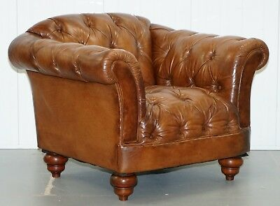 Rrp £1699 Aged Brown Leather Tetrad Chesterfield Club Armchair Heritage Leather