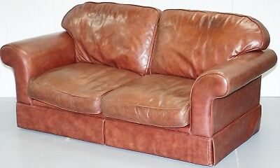 1 Of 2 Rrp £2399 Laura Ashley Heritage Brown Leather Large 2.5 Seater Sofas
