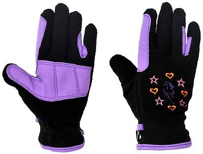 (Small, Black/Purple) - Riders Trend Girl's Riding Fleece Gloves. Free Delivery