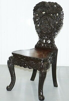19Th Century Chinese Export Hand Carved Dragon & Bird Chair Ebonised Black