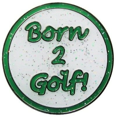 (Green/White) - Navika Born 2 Golf Green Glitzy Golf Ball Marker With Hat Clip