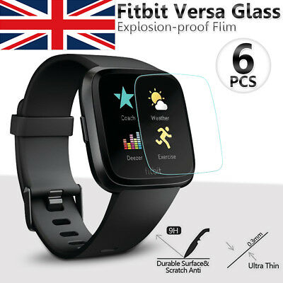 Fitbit Versa Screen Protector Clear Tempered Glass Military Grade Shield-6 pack