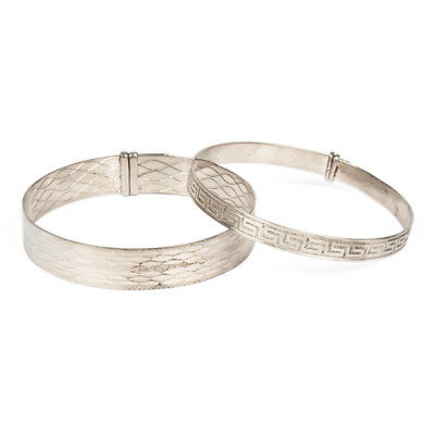 Two Vintage Sheffield Silver Ladies Bangles By W.m. 1976