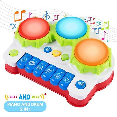 Baby Kids Musical Keyboard Piano Drum Educational Toy with 4 Fun Modes Toy Gift