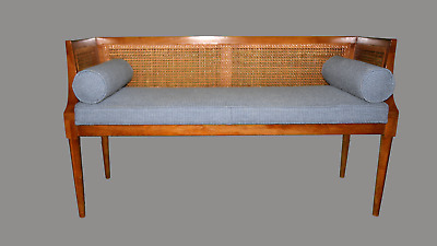 Vintage Mid Century Modern Cane Settee Bench with Blue Cushion & Pillows