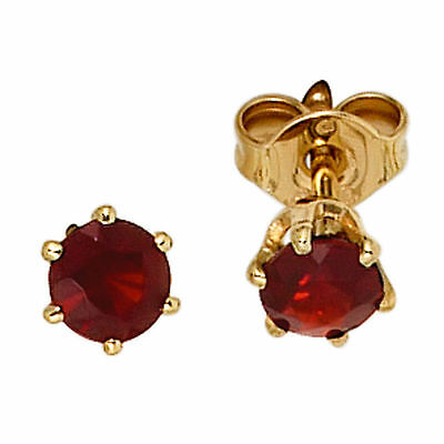 Round Earrings 585 Gold Yellow 2 Garnet Red Stud