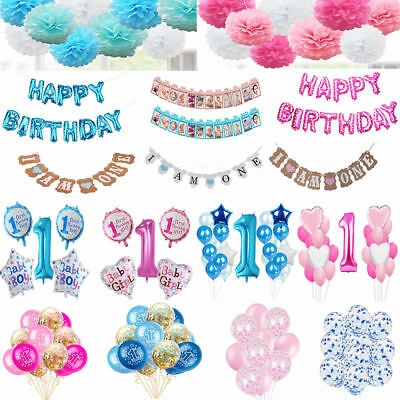 1st Happy Birthday Number Balloons I Am One Bunting Pompoms Baby Boy Girl Party