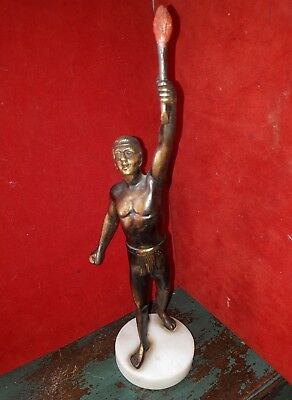 Vintage Bronze Olympian Figure With Cold Painted Torch