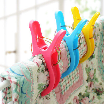 4Pcs Plastic Clothes Pegs Big Beach Towel Laundry Wash Hanging Windproof Clips