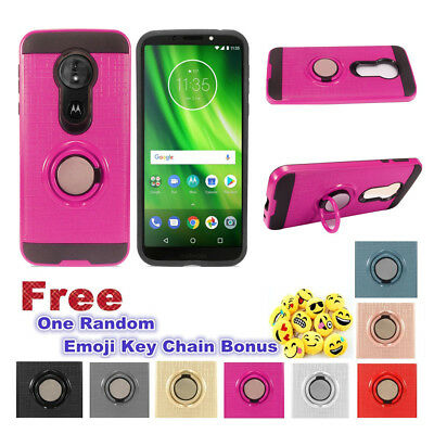 For Motorola Moto G6 Play/XT1922 Magnetic Ring Stand Hybrid Car Case Cover