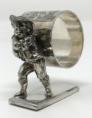 Antique Victorian Silver-Plate Figural Boy Carrying Ring On Back Napkin Ring SCP
