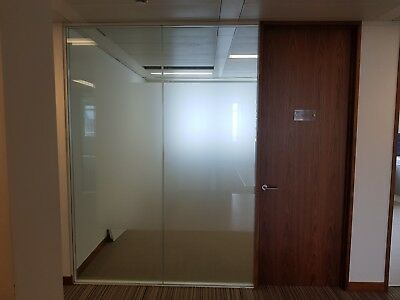 2.74 METRE WIDE GLASS PARTITION SYSTEM WITH 1 x  DOOR & FRAMES FOR £275 inc VAT