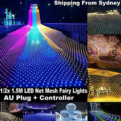 LED String Fairy Lights Net Mesh Xmas Curtain Party Wedding Garden Decor Outdoor